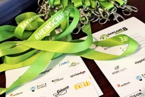 Sponsoren (Badges, Lanyard) beim BarCamp Ruhr #bcruhr8