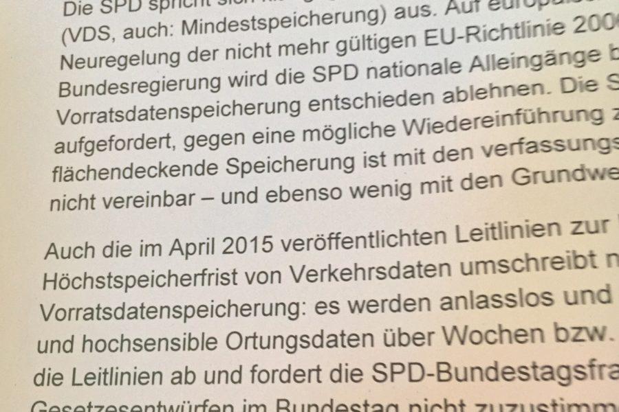 Auszug aus dem Antrag der SPD Bochum-Ehrenfeld gegen die Vorratsdatenspeicherung (für den SPD-Parteikonvent)