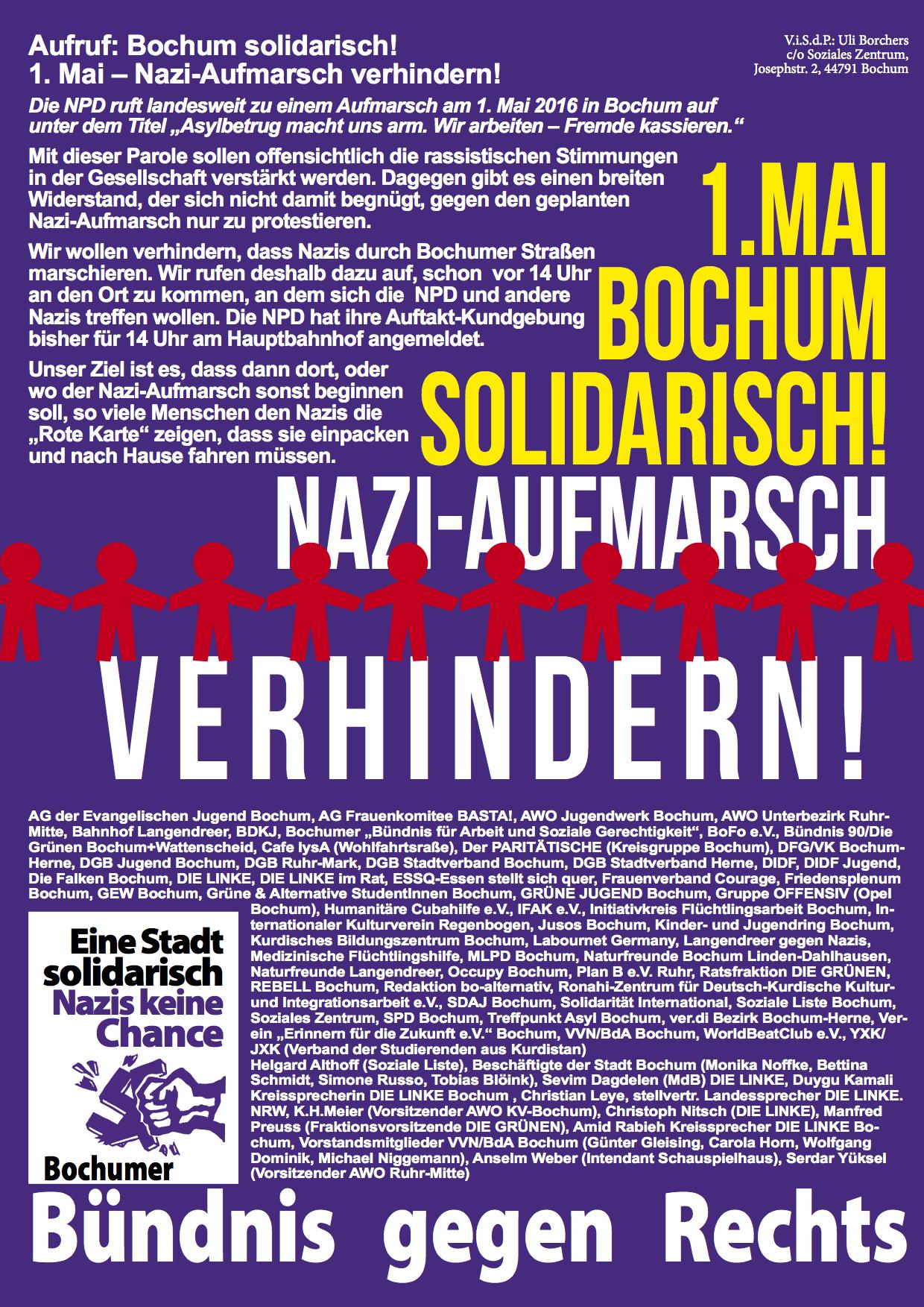 Aufruf: Bochum solidarisch! 1. Mai 2016 - Nazi-Aufmarsch verhindern!