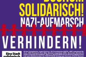 Plakat: 1. Mai (2016) Bochum solidarisch! Nazi-Aufmarsch verhindern!