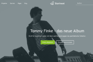 "Crowdfunding-Kampagne ""Tommy Finke - das neue Album"" (Screenshot)"