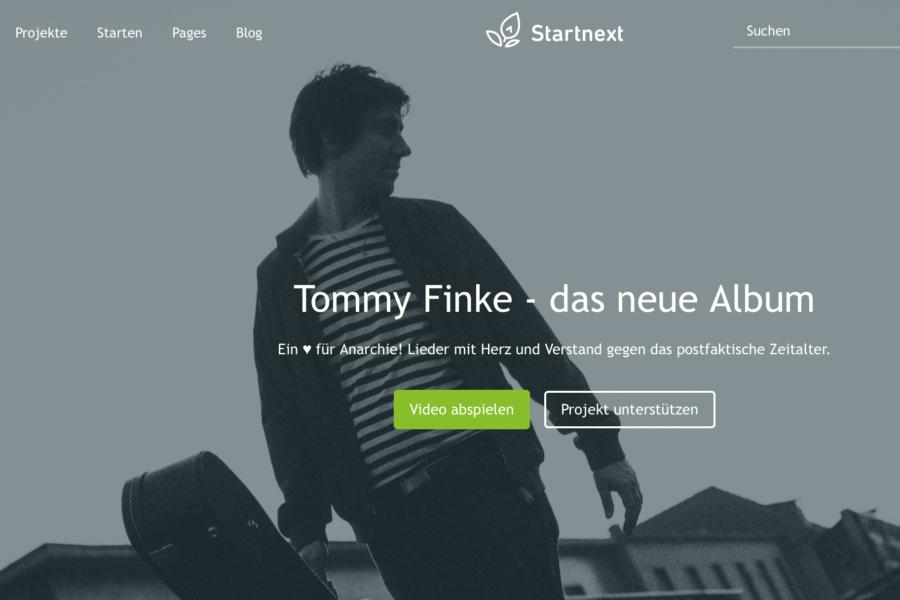 "Crowdfunding-Kampagne ""Tommy Finke - das neue Album"" (Screenshot)"