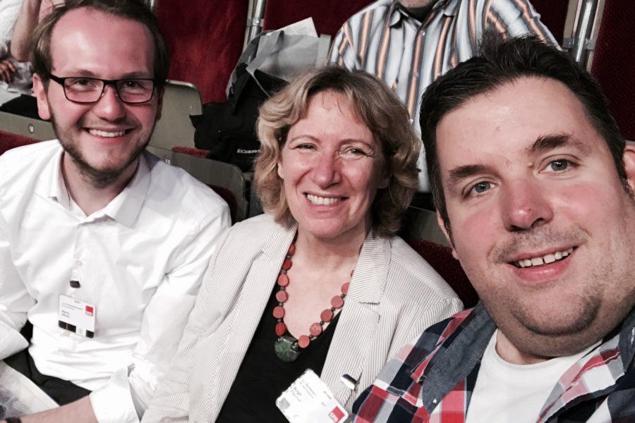 Marvin Hiltrop (SPD Bochum-Altenbochum), Birgit Fischer und Jens Matheuszik (SPD Bochum-Ehrenfeld) #spdbpt