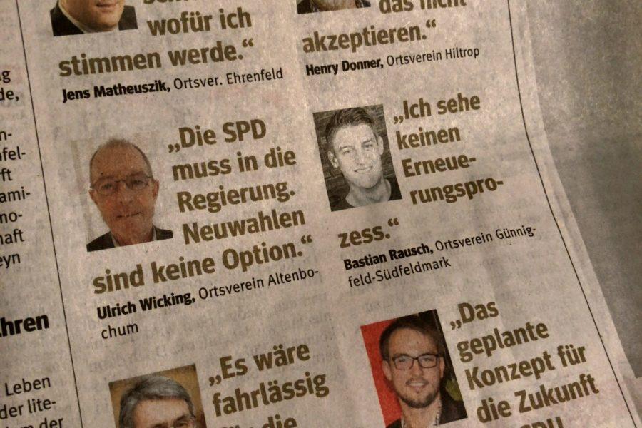 WAZ Bochum (17.02.2018): Stimmung aus den Ortsvereinen zur großen Koalition: #GroKo oder #NoGroKo - oder aber #unentschlossen