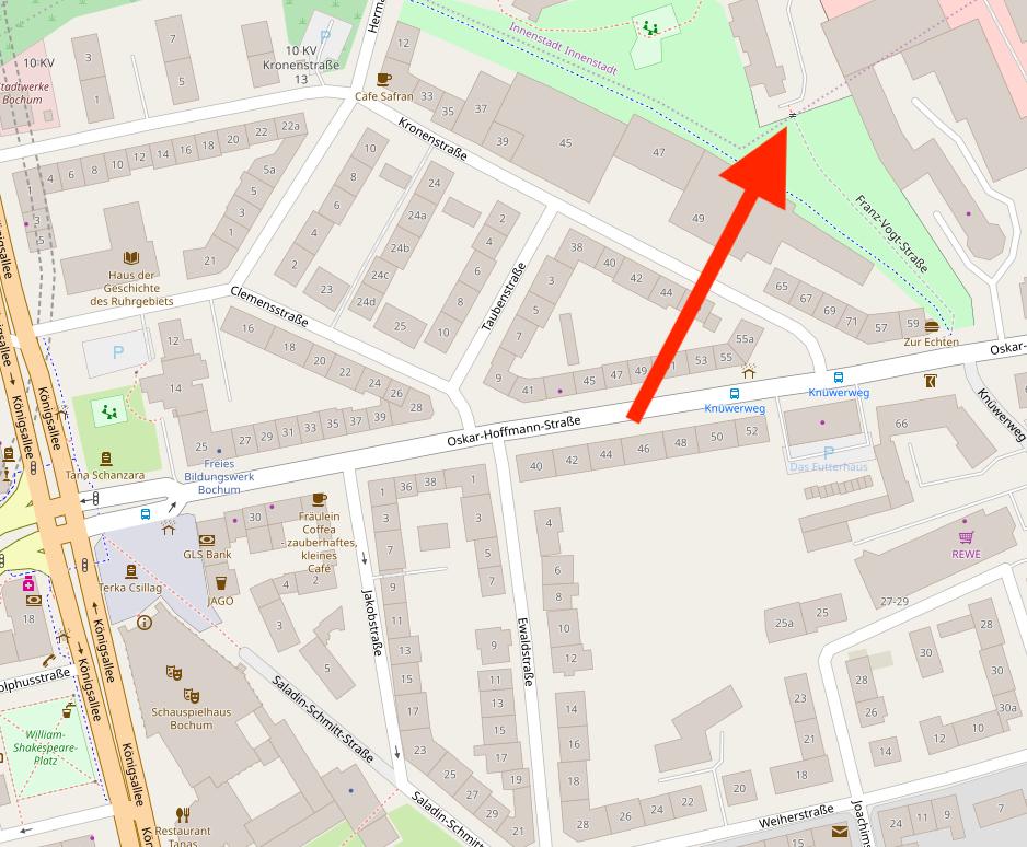 """Karte mit markiertem """"Franz-Vogt-Törchen"""" zwischen der Oskar-Hoffmann-Straße (im Ehrenfeld) und der Franz-Vogt-Straße. Die Karte stammt von OpenStreetMap und unterliegt der Open Data Commons Open Database Lizenz (ODbL)."""
