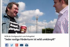 """WDR.de-Streitgespräch zum Ruhrgebiet: """"Jeder rostige Förderturm ist wild umkämpft"""" mit Wolfgang Wendland und Jens Matheuszik (Screenshot: WDR.de)"""