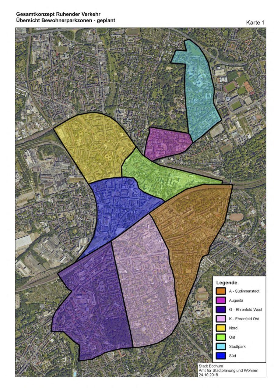 Gesamtkonzept Ruhender Verkehr (Karte 01): Übersicht Bewohnerparkzonen (geplant) - Quelle: Stadt Bochum, Amt für Stadtplanung und Wohnen