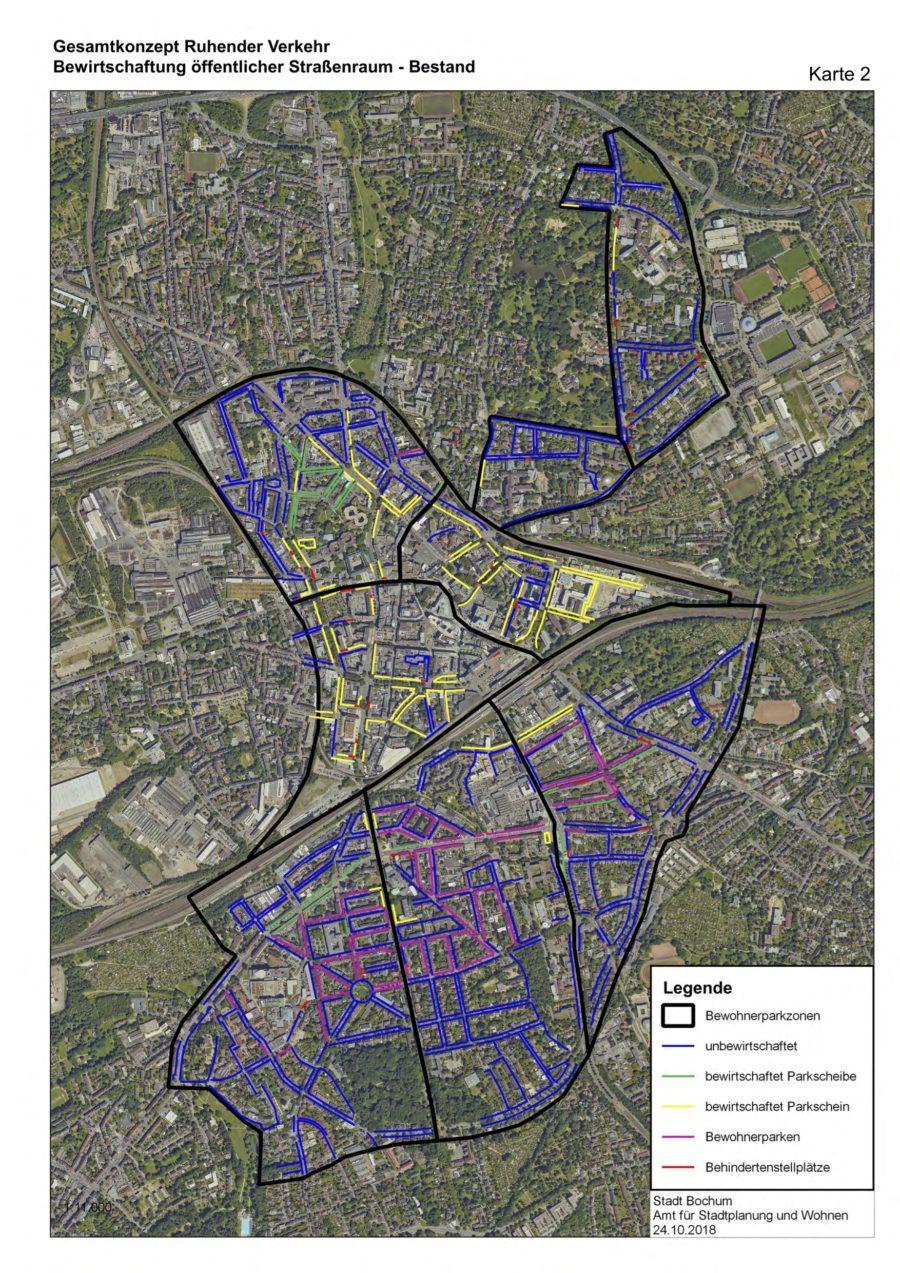 Gesamtkonzept Ruhender Verkehr (Karte 02): Bewirtschaftung öffentlicher Straßenraum (Bestand) - Quelle: Stadt Bochum, Amt für Stadtplanung und Wohnen