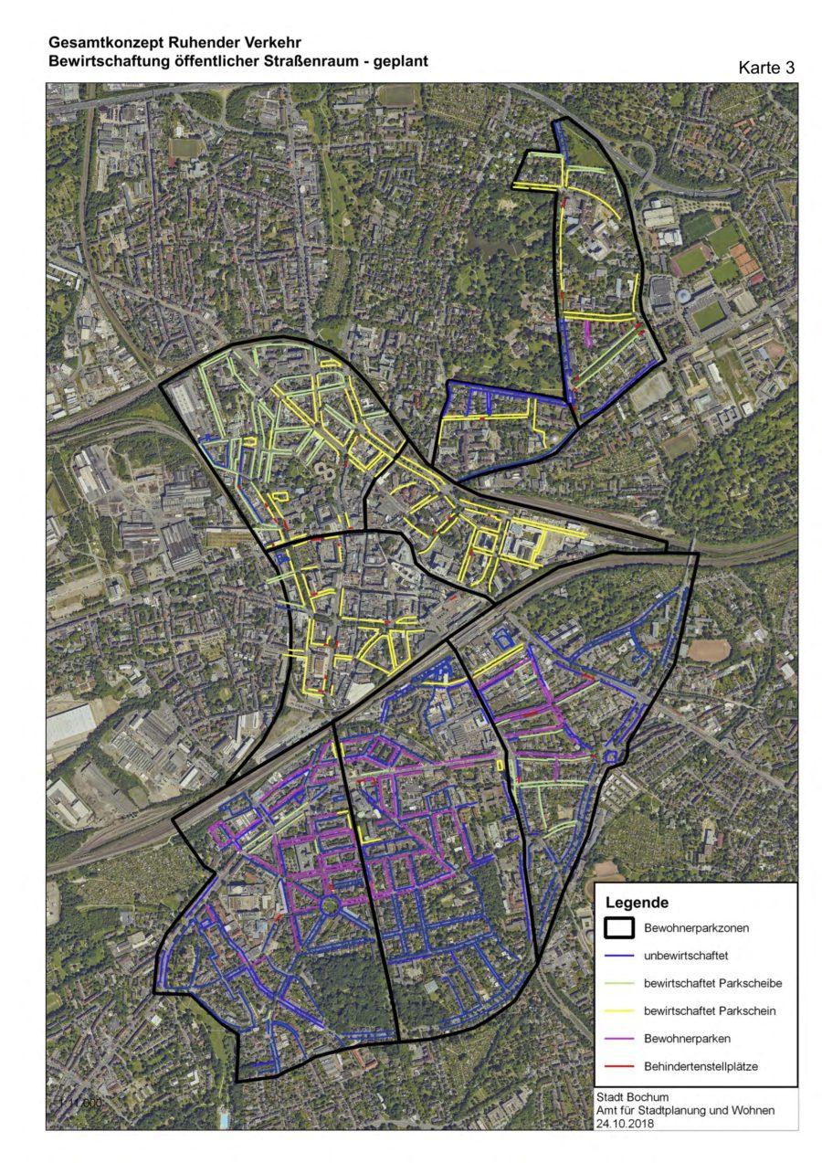 Gesamtkonzept Ruhender Verkehr (Karte 03): Bewirtschaftung öffentlicher Straßenraum (geplant) - Quelle: Stadt Bochum, Amt für Stadtplanung und Wohnen