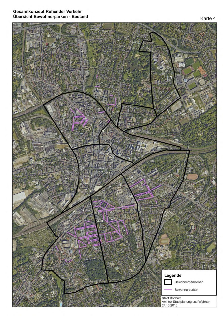 Gesamtkonzept Ruhender Verkehr (Karte 04): Übersicht Bewohnerparken (Bestand) - Quelle: Stadt Bochum, Amt für Stadtplanung und Wohnen