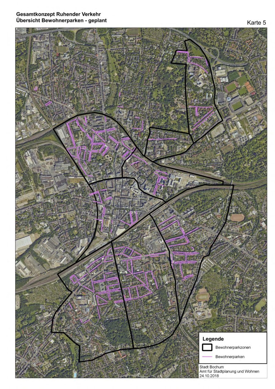 Gesamtkonzept Ruhender Verkehr (Karte 05): Übersicht Bewohnerparken (geplant) - Quelle: Stadt Bochum, Amt für Stadtplanung und Wohnen