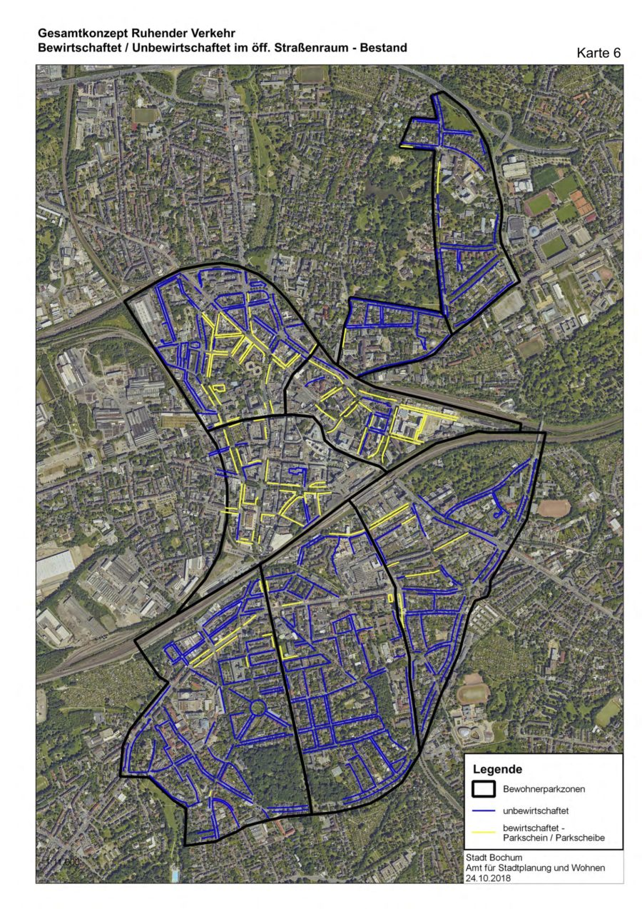 Gesamtkonzept Ruhender Verkehr (Karte 07): Bewirtschaftet/Unbewirtschaftet im öffentlichen Straßenraum (Bestand) - Quelle: Stadt Bochum, Amt für Stadtplanung und Wohnen