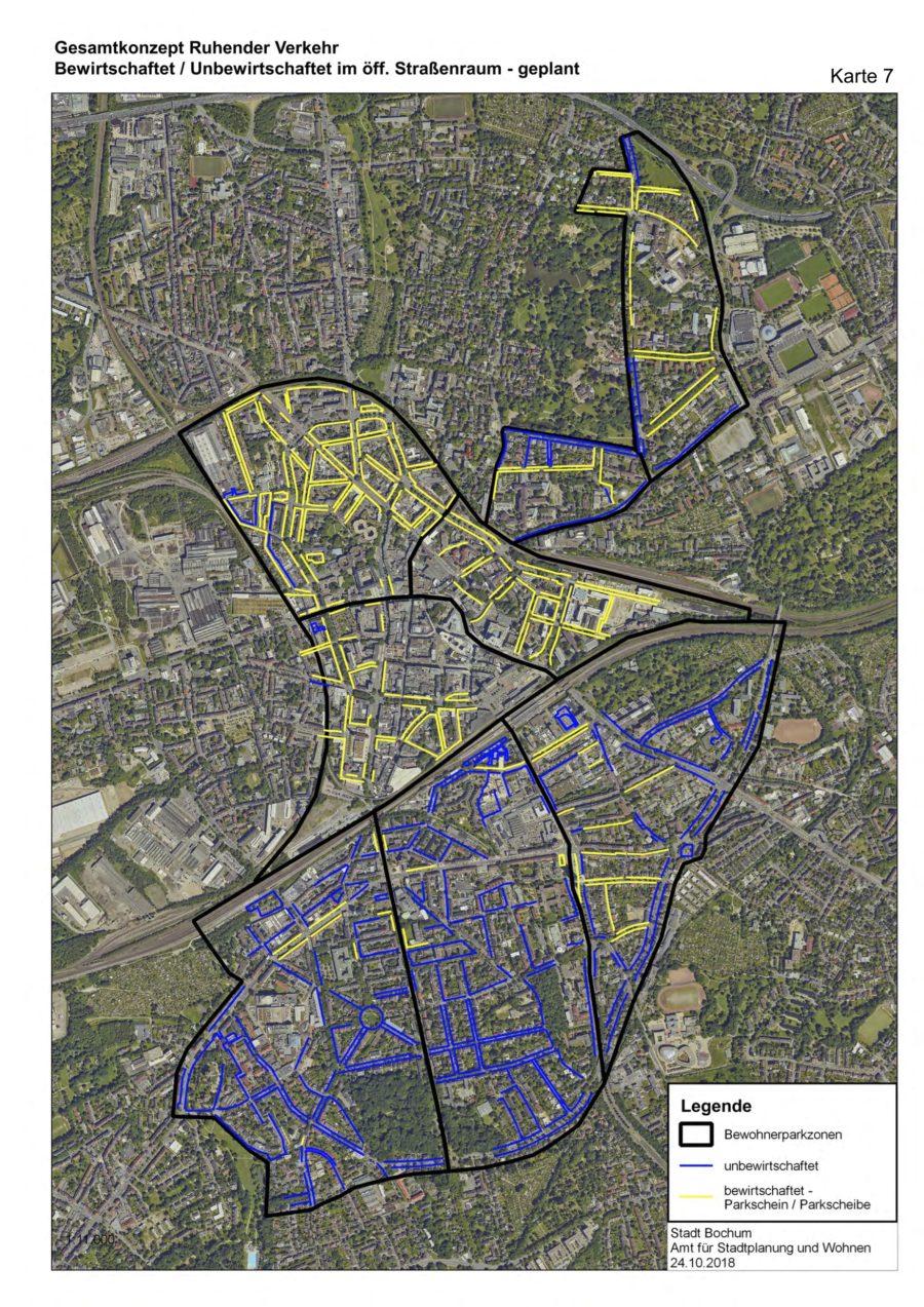 Gesamtkonzept Ruhender Verkehr (Karte 07): Bewirtschaftet/Unbewirtschaftet im öffentlichen Straßenraum (geplant) - Quelle: Stadt Bochum, Amt für Stadtplanung und Wohnen