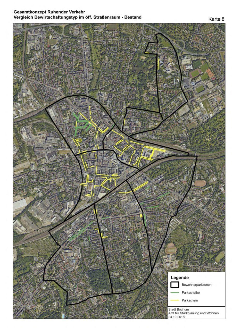 Gesamtkonzept Ruhender Verkehr (Karte 08): Vergleich Bewirtschaftungstyp im öffentlichen Straßenraum (Bestand) - Quelle: Stadt Bochum, Amt für Stadtplanung und Wohnen