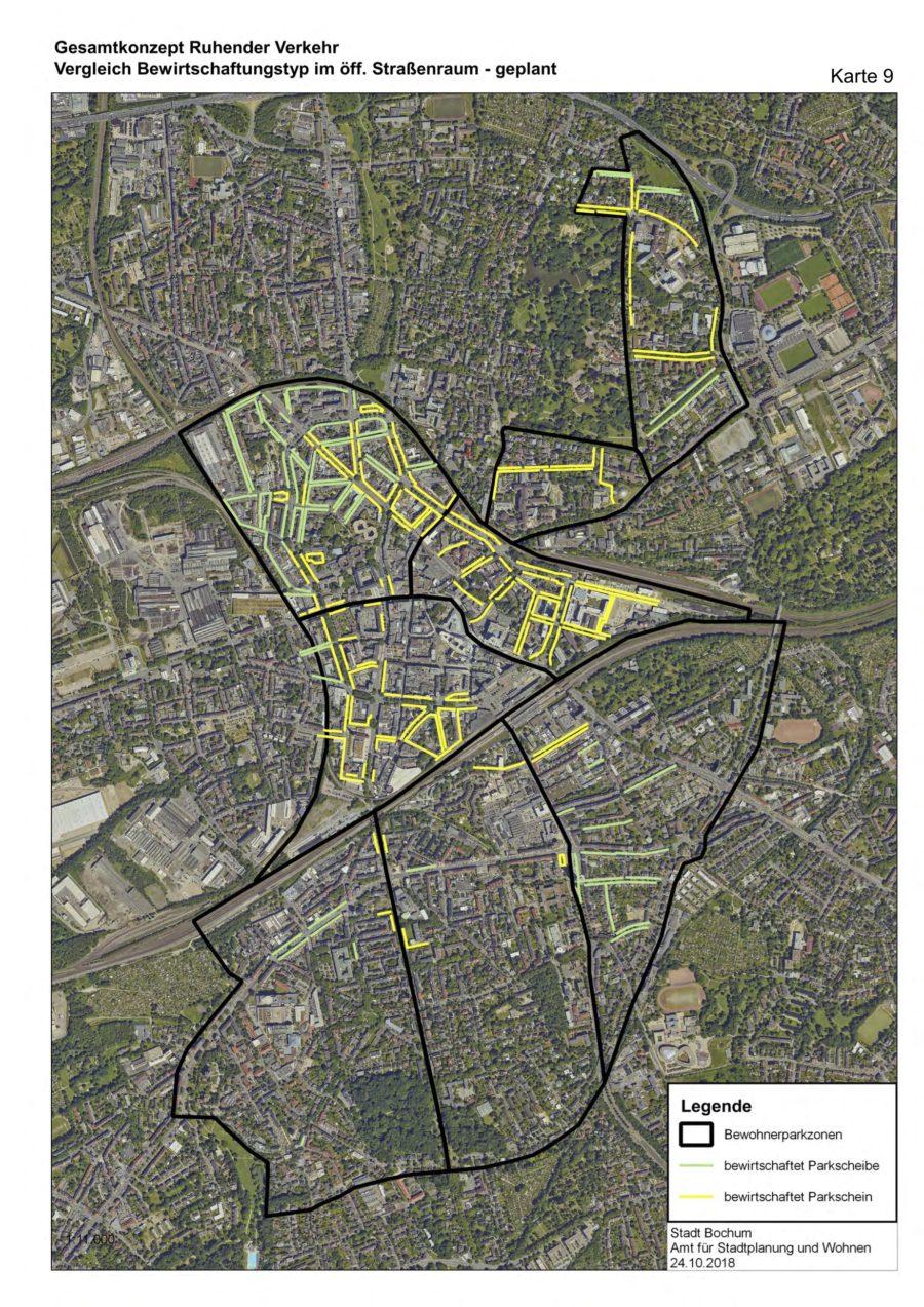 Gesamtkonzept Ruhender Verkehr (Karte 09): Vergleich Bewirtschaftungstyp im öffentlichen Straßenraum (geplant) - Quelle: Stadt Bochum, Amt für Stadtplanung und Wohnen