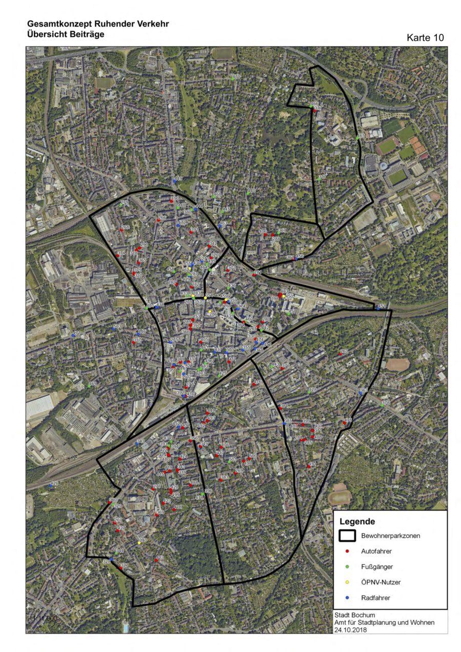 Gesamtkonzept Ruhender Verkehr (Karte 10): Übersicht Beiträge (der Online-Befragung) - Quelle: Stadt Bochum, Amt für Stadtplanung und Wohnen
