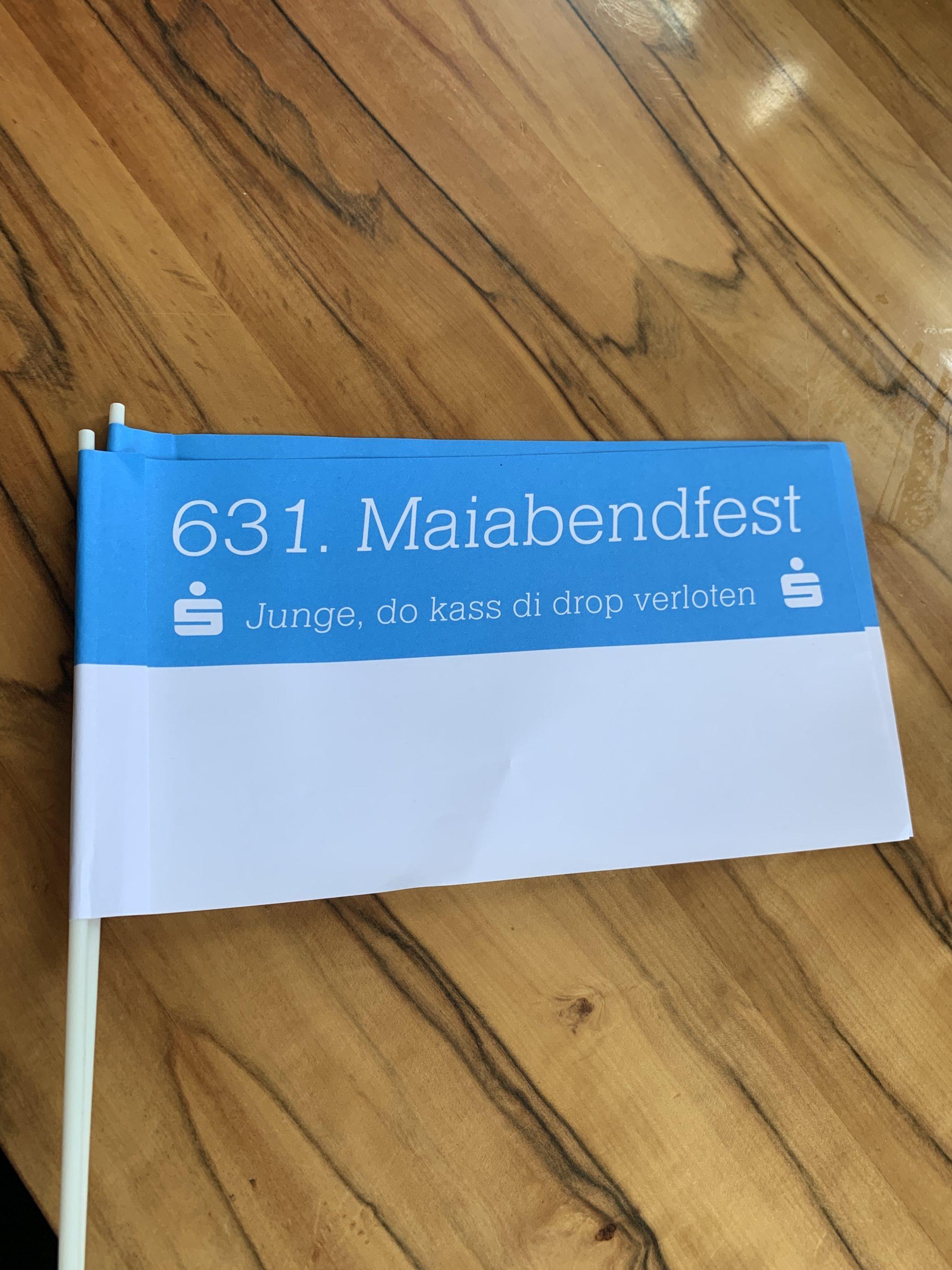 """(Maiabendfest 2019) Fähnchen zum 631. Maiabendfest """"Junge, do dass di drop verloten"""""""