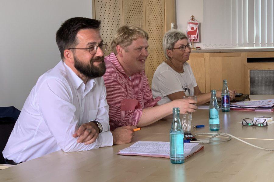 AfA-Betriebsgruppenkonferenz 2019 mit Thomas Kutschaty (SPD-Fraktionsvorsitzender im nordrhein-westfälischen Landtag), Kai Rauschenberg (der Vorsitzende der AfA Bochum) und Carina Gödecke (Erste Vizepräsidentin des nordrhein-westfälischen Landtages)