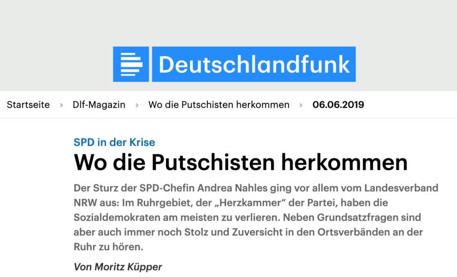Deutschlandfunk (DLF): SPD in der Krise - Wo die Putschisten herkommen