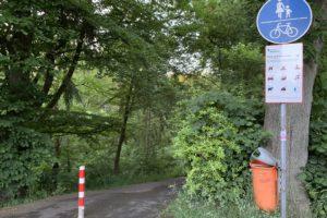 Absperrung zum Wiesental (in der Stensstraße, Nähe Cranachstraße) - jetzt mit Pfosten zur Absperrung