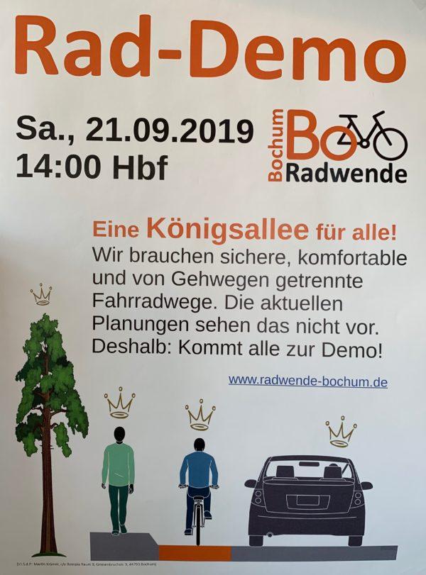 Plakat Rad-Demo Königsallee (von Radwende Bochum)