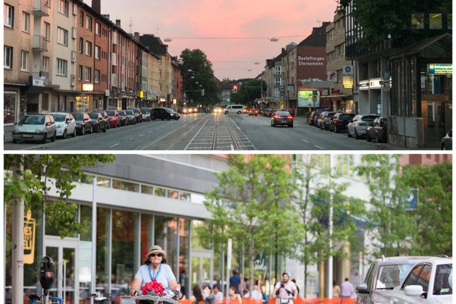 Bild der Hattinger Straße im Bochumer Ehrenfeld // und eines geschützten Fahrradwegs (protected bike lane)