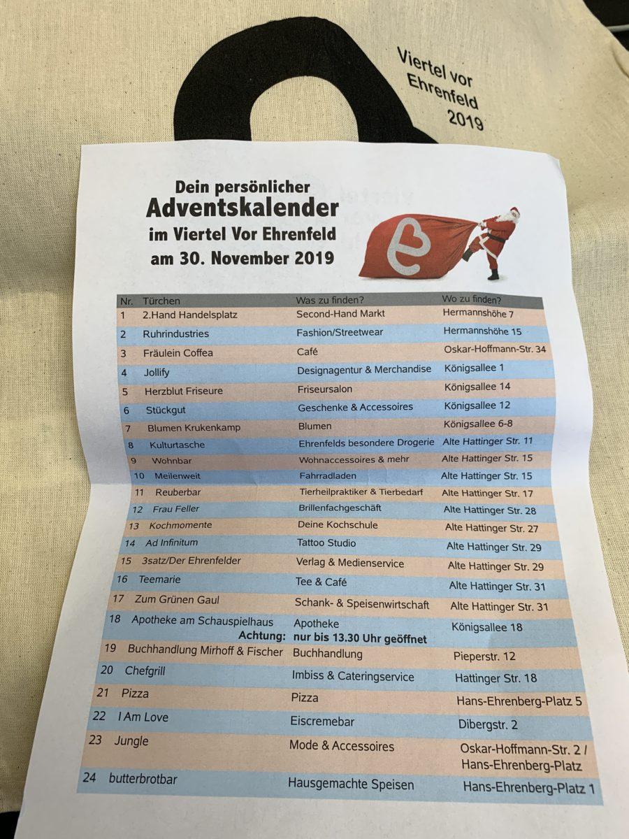 Viertel vor Ehrenfeld (Adventskalender 2019): Liste der teilnehmenden Geschäfte