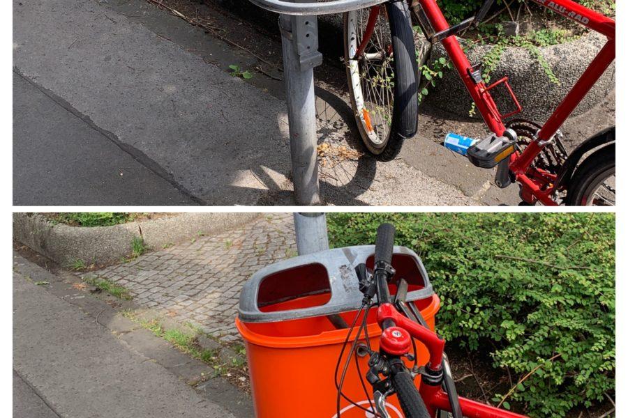 Mülleimer an der Ehrenfeldstraße: vorher (fehlt) und nachher (wieder da!) - #MängelmelderSafariBO