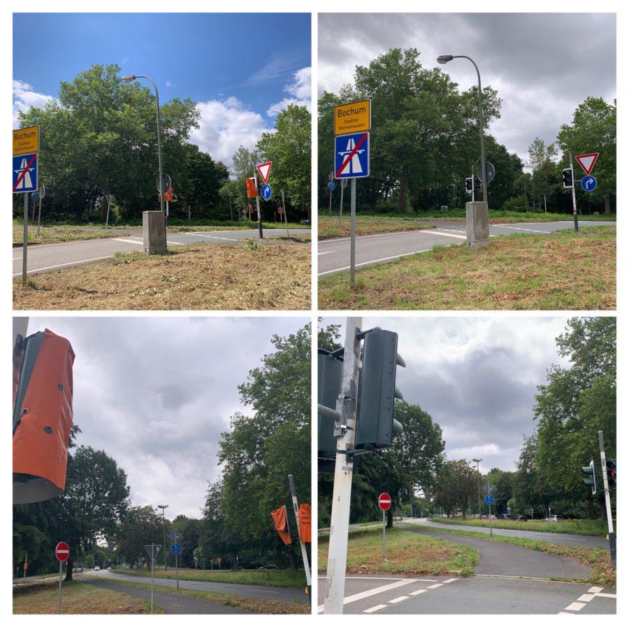 Ampeln an der Kreuzung A448/Königsallee in Bochum-Wiemelhausen: erst waren sie defekt, jetzt funktionieren sie wieder!