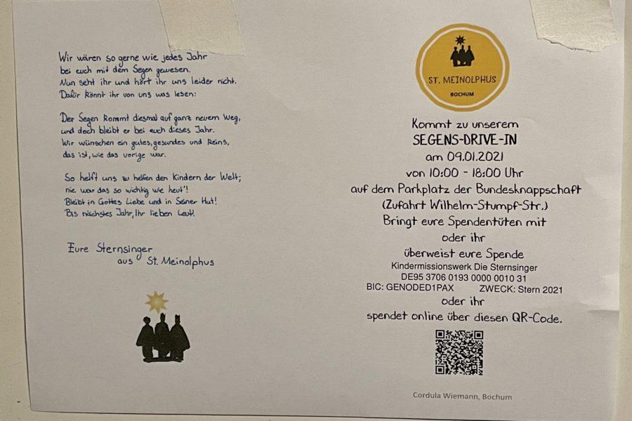 Segens-Drive-In am 09.01.2021 im Bochumer Ehrenfeld