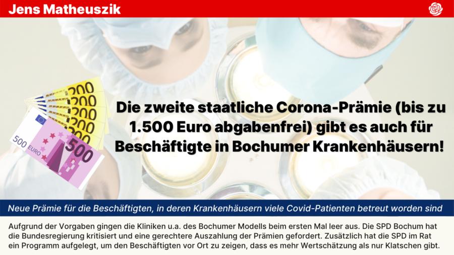 Die zweite staatliche Corona-Prämie (bis zu 1.500 Euro abgabenfrei) gibt es auch für Beschäftigte in Bochumer Krankenhäusern!