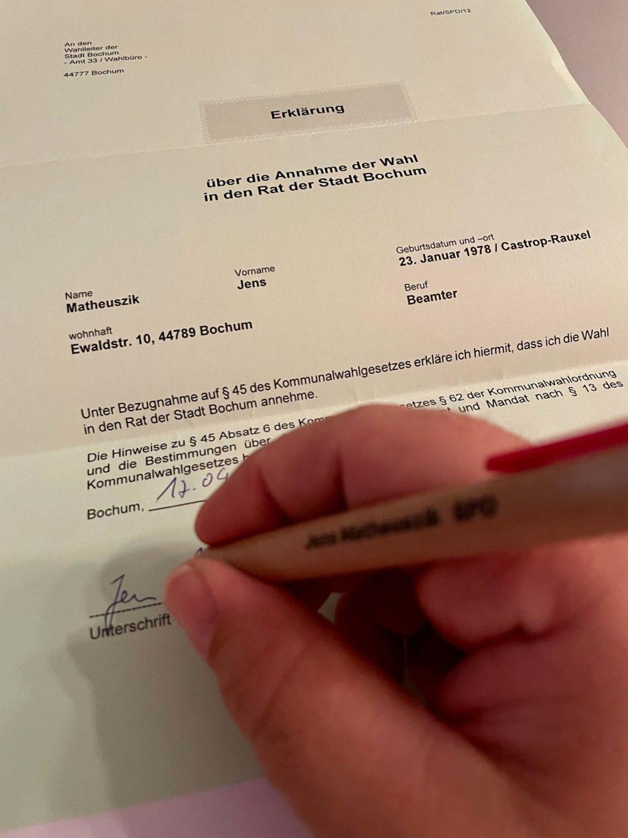 Unterschrift unter der Annahmeerklärung