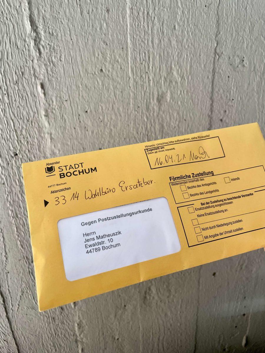 Schreiben des Wahlbüros - mit Postzustellungsurkunde versandt