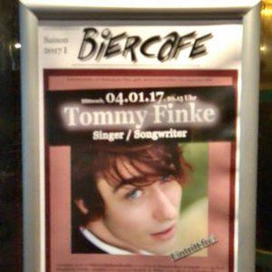 Biercafe (am Schauspielhaus): Plakat für den Abend mit Tommy Finke