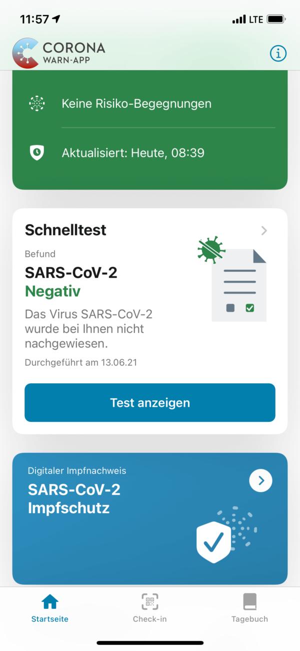 Corona-Warn-App: mit negativem Test und dem Impfschutznachweis