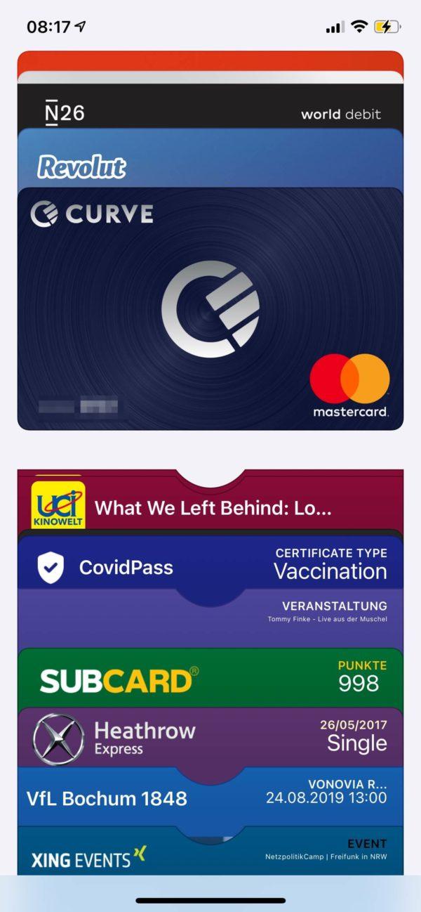 Apple Wallet mit diversen Karten/Nachweisen - u.a. den digitalen Impfzertifikaten