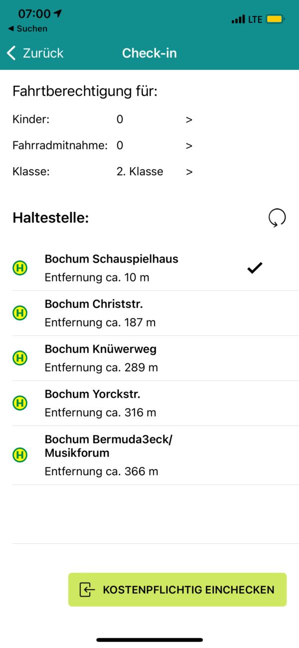 nextTicket: Auswahl der Haltestelle beim Check-in (App Bild 2)