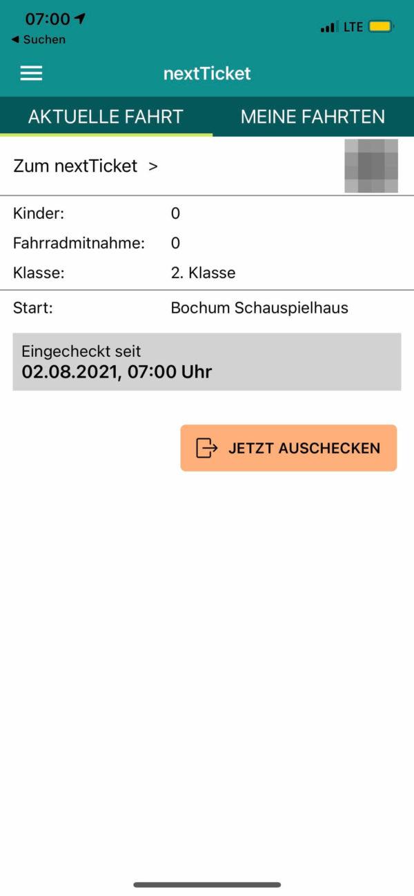 nextTicket: aktuelle Fahrt (App Bild 3)