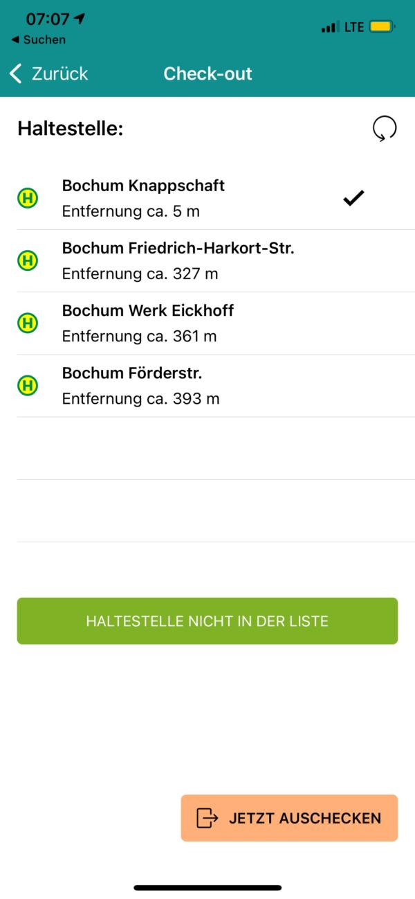 nextTicket: Check-out an der Ziel-Haltestelle (App Bild 5)
