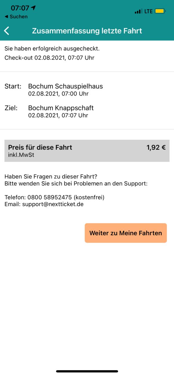 nextTicket: Zusammenfassung der Fahrt nach dem Check-out (App Bild 6)