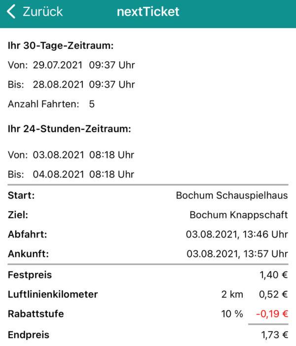 nextTicket: Kosten der letzten Fahrt - unter Berücksichtigung der 10 %-Rabattstufe (App Bild 7)