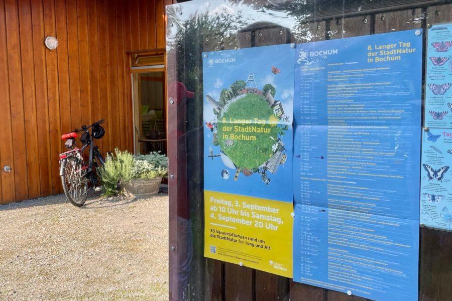 8. Langer Tag der Stadtnatur Bochum: Plakat dazu im KGV Kraut und Rüben in Hordel